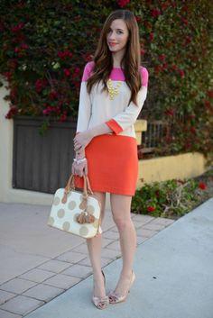 color blocked pink and orange, nude heels cute printed bag