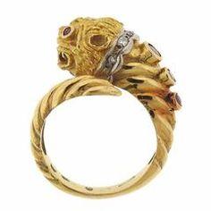 Ilias Lalaounis Greece Ruby Diamond Gold Chimera Ring