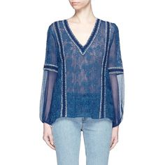 Alice + Olivia 'Natalya' embroidery crinkle voile peasant top (535 SGD) ❤ liked on Polyvore featuring tops, blouses, blue, embroidered top, embroidered blouse, floral top, blue peasant top and floral blouse