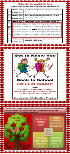 Yes, rules and procedures must be established, but imagine what it would be like to sit through several classes if not 5 or 6 where every teacher is TALKING about them. I propose a more engaging way to disseminate rules and procedures to students. This 15-page editable packet includes a Get to Know You HELLO Game and a game template to help disseminate in an engaging format for students what you would like for them to know right away to be successful in your class. Grades 3-8
