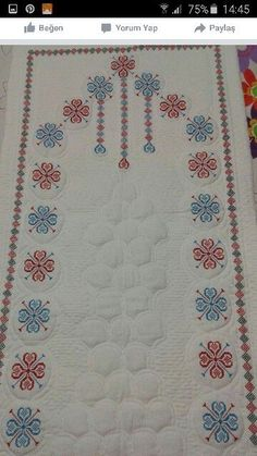 This Pin was discovered by HUZ Cross Stitch Flowers, Cross Stitch Patterns, Hand Embroidery, Embroidery Designs, Palestinian Embroidery, Prayer Rug, Bargello, Needlework, Diy And Crafts