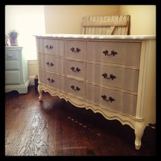 French provincial dresser done in Paris grey and old white Annie Sloan