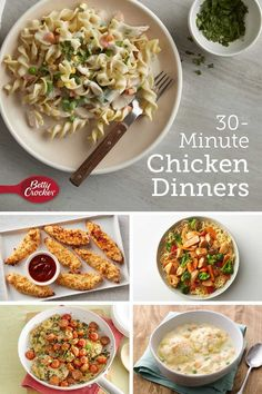Who says putting a new twist on chicken has to be time-consuming? Here are nine fast and flavorful ways to elevate the dinnertime staple—from cheddar bacon chicken tenders to spicy peanut chicken. Best Easy Dinner Recipes, Night Dinner Recipes, Easy Chicken Dinner Recipes, Yummy Recipes, Recipies, 30 Min Meals, Quick Meals, Easy Casserole Recipes, Peanut Chicken