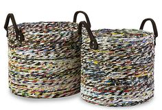 Two baskets handmade with recycled magazine strips.Product: Small and large basketConstruction Material: Recycled magazine paper and vinylColor: Multi Recycled Magazine Crafts, Recycled Magazines, Old Magazines, Recycled Crafts, Recycled Materials, Recycled Jewelry, Handmade Crafts, Natural Materials, Handmade Rugs