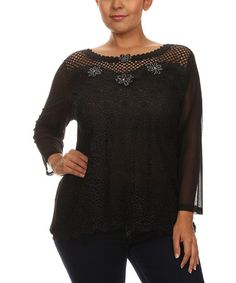 Love this Black Lace Rhinestone-Embellished Swing Top - Plus on #zulily! #zulilyfinds