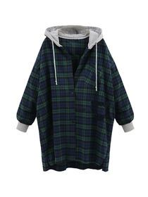 Women's Shirt Hooded Long Sleeve Loose Casual Plaid Top