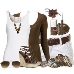 Don't know if I'd wear all of it, but I love the white/brown combo with wooden accessories--which I already have