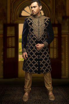 Samyakk Violet Velvet Stunning Indo Western Sherwani  #Samyakk, #Violet, #Embroidered