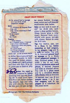 The original recipe for Crazy Crust Pizza was from . The original recipe for Crazy Crust Pizza was from a bag of Pillsbury flour when you could buy one for twenty… Source by shahlaie Retro Recipes, Old Recipes, Vintage Recipes, Pizza Recipes, Italian Recipes, Cooking Recipes, Recipies, Kraft Recipes, Sandwich Recipes