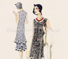 Shop for art deco on Etsy, the place to express your creativity through the buying and selling of handmade and vintage goods. Retro Pattern, Vintage Sewing Patterns, Vintage Prints, Vintage Art, Large Prints, 1930s, Illustration, Art Deco, Vintage Fashion