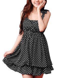 Allegra K Women Scoop Neck Sleeveless Dots Pleated Layered Mini Dress *** Read more  at the image link. (This is an affiliate link and I receive a commission for the sales)