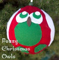 #NUO2012 Fuzzy Christmas Owl Ornaments
