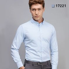 Spring Autumn New Men Pure Color Dress Shirt Regular Fit Long Sleeve Turn-down Collar Button-Up Business Men Casual Shirt