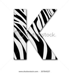 Letter K from the alphabet. Made of animal print