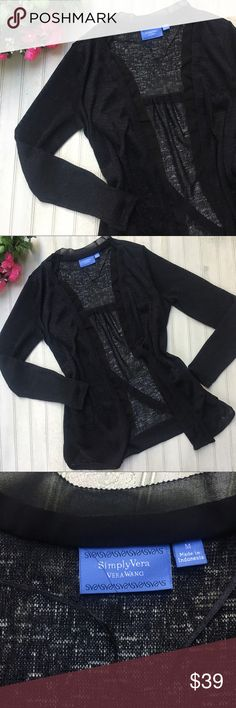 Simply Vera Wang Black Cardigan Sweater Vera Wang Black Cardigan Sweater 	⁃	Size M 	⁃	Condition: Excellent Used Condition, no holes, rips or stains 	⁃	Measurements: Length 28in Sleeve 24in 	⁃	Material Makeup: 100% Polyester 📦📫Same to Next Day Shipping! ✖️Don't like the Price? Make an Offer!  ❓Have a Question? Ask!  🍁Bundle & Save! Add item(s) to a bundle for a private offer! 🍁 Simply Vera Vera Wang Sweaters Cardigans