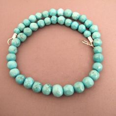 """Silver, turquoises, Iran   Description   This necklace is particularly pretty by its simplicity aswell by the quality of cut turquoises of Iran…   Weight:84,1gr  Length:18,89 inch www.halter-ethnic.com...see """"My lucky Finds"""""""