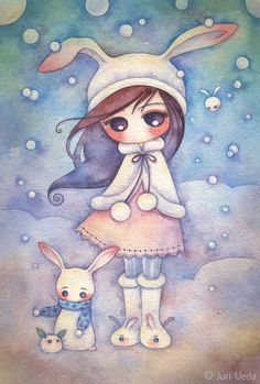 Snowbunnies, an art print by Juri Ueda Art And Illustration, Illustrations, Anime Body, Anime Pokemon, Anime Plus, Bunny Art, Whimsical Art, Cute Drawings, Love Art