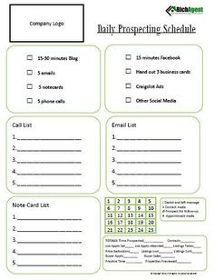 DAILY PROSPECTING SCHEDULE - Tools for Real Estate Agents by RichAgent on Etsy: