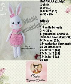 Boa sorte com os amigos . Crochet Bunny Pattern, Crochet Patterns, Amigurumi Patterns, Amigurumi Doll, Crochet Dolls, Crochet Baby, Stuffed Animal Patterns, Handmade Toys, Diy And Crafts