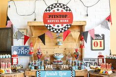 Racing with Racer   Racing-themed birthday party   Racing-themed dessert table   http://babyandbreakfast.ph/2016/08/17/racing-with-racer/   Photo: Delightful Little Darlings