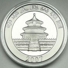 China 10 yuans Panda bamboo animals gilded silver 1 oz coin 2007