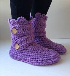 Women's Crochet Purple Slipper Boots, Crochet Slippers, Crochet Booties, Crochet House Shoes, Crochet Winter Boots, Grey Slipper Boots on Etsy, $40.00 CAD