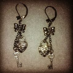 Silver Betsey Johnson Earrings With Bow, Key and Lock! $10.00