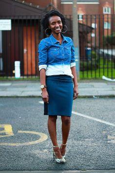 Side panel pencil skirt & a denim shirt