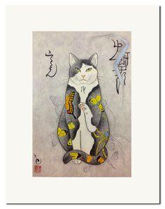 Monmon Cat Print by Horitomo: <i><b>Chocho Cat</i></b>