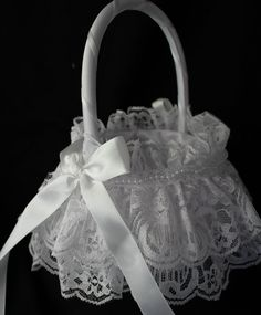 White  Flower Girl Basket with Delicate Double by CustomRingChests, $22.00 etsy