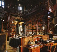 """""""It is said that this room, Chateau de Groussay Library (Montfort-l'Amaury/France 1815), was the inspiration for the library of Henry Higgins (Film version """"My Fair Lady"""").  The library in that film is one of my favorite rooms in the entire world. If I could snap my fingers & be transported to any paradise on earth, no question, I'd choose to land in Henry Higgins' library.""""-doubleVenti"""