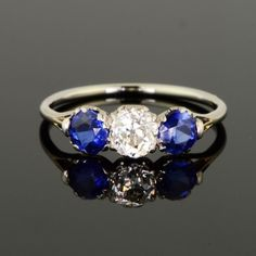 Beautiful, 0.76ct old mine cut diamond and 1.02ct rich blue sapphires - just stunning - yes please!!!