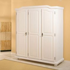 Bastian White Solid Wood Wardrobe