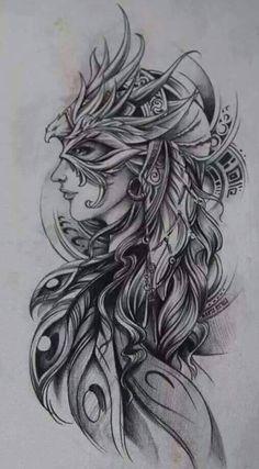 Interesting phoenix design I'd color this. Tattoos Skull, Body Art Tattoos, Tribal Tattoos, Girl Tattoos, Sleeve Tattoos, Tattoos For Women, Tatoos, Phoenix Tattoo Sleeve, Phoenix Bird Tattoos