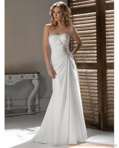2013 Brautkleid aus Chiffon schulterfreier Ausschnitt mit gerafftetem Korsett und schmaler Rock