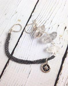 Handmade Silver Bracelet with Tourmalated Herkimer chunks, Compass charm