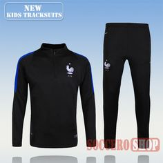 Top Quality:New Fashion Kids France 2016 2017 Black Tracksuit Personalised Customised