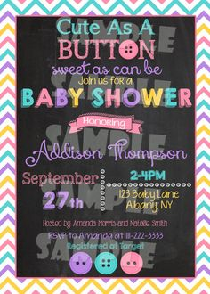 Printable Cute As A Button Baby Shower Invitation (Digital File Only) - Forever Fab Boutique