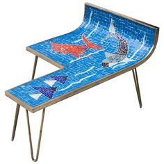 Mosaic Table Blue Ocean by Berthold Muller, Germany, For Sale Mid Century Modern Design, Mid Century Modern Furniture, Vintage Coffee, Vintage Table, Glass Mosaic Tiles, Mosaic Art, Mosaic Coffee Table, Mosaic Tables, Furniture Styles