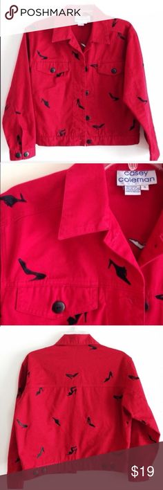 """Girls Just Want To Have Fun Fire engine red jacket Size S  100% Cotton. Length is 20 1/2"""". Armpit to armpit 21"""".  Great used condition Jackets & Coats"""