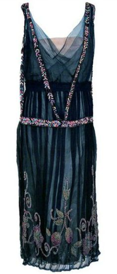1920's Jeanne Paquin Colorful Beaded Silk-Tulle Flapper Dress via Timeless Vixen (sold)