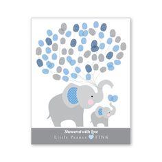 Thumbprint Balloon Wall Art Elephant Baby Shower by crazyfoxpaper