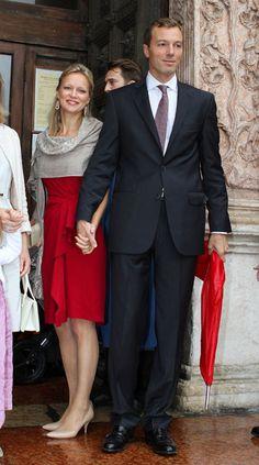 Princess Maria - Carolina of Bourbon - Parma and her husband Albert Brenninkmeijer at the christening of Princess Liusa of Bourbon- Parma