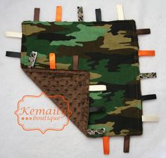 Baby Taggie  Camo Print Minky Ribbon Taggy  READY To by Kemaily