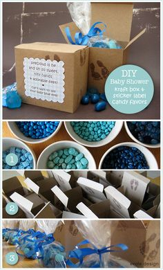 DIY candy craft boxes make wonderful baby shower favors.