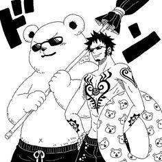 One Piece Trafalgar D. Water Law und Beppo gehen schwimmen. Laws Schwimmreifen hat kleine Bären drauf xD (Law and Beppo are going to simming.