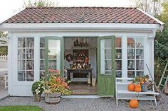 33 trendy garden shed ideas exterior cottages Shed Design, Garden Design, Shed Conversion Ideas, Cottage Garden Sheds, Backyard Cottage, Backyard Sheds, Le Hangar, Home And Garden Store, Simple Shed