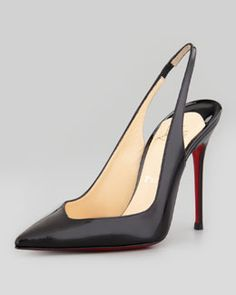X1RJ9 Christian Louboutin Flueve Pointed-Toe Slingback Pump, Black