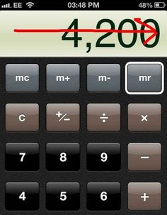 In the Calculator app, remove an accidental extra numbers by swiping left to right. | 19 Mind-Blowing Tricks Every iPhone And iPad User Should Know