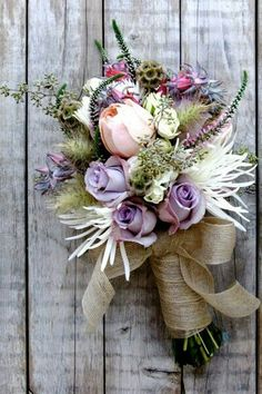 Unique Boho/Gypsy/Shabby Chic Bouquet Featuring: Violet Roses, White Spider Mums, White Veronica, Pink Cabbage Roses, Pussy Willow, Green Eucalyptus Seeds, Pink/Purple Spider Mums, Scabiosa Pods, Hand Tied With Burlap Ribbon>>>>